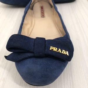 Blue suede Prada flats